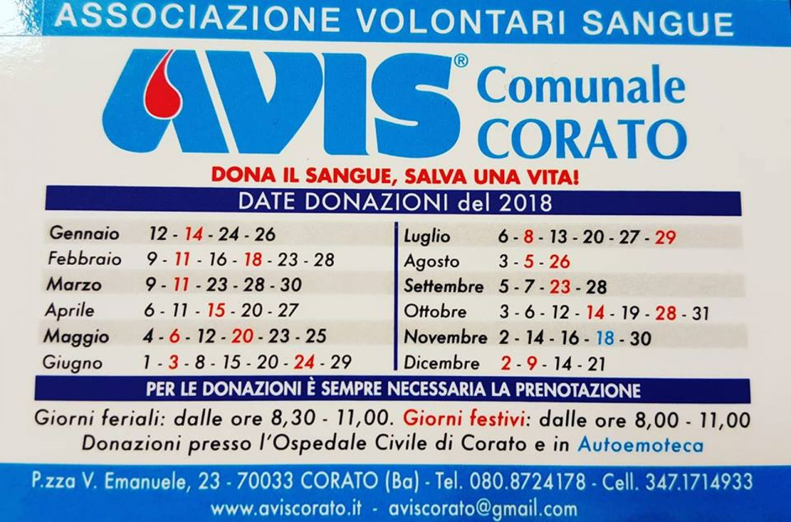 Calendario Avis.Calendario Donazioni 2018 Avis Corato