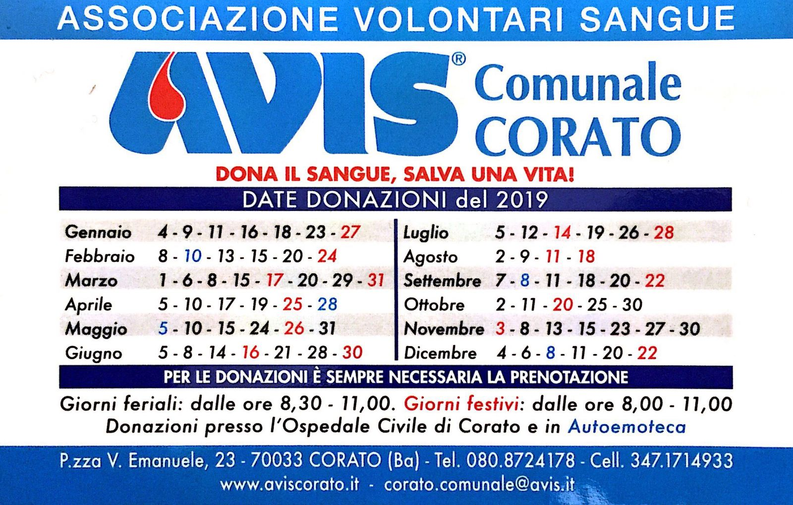 Calendario Avis.Calendario Donazioni 2019 Avis Corato